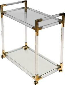 SARREID TROLLEY CART TRANSITIONAL GOLD ACRYLIC TEMPERED GLASS STAINLESS ST
