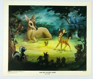 1947 NY Graphic Society Walt Disney Litho Print Bambi Meets His Forest Friends