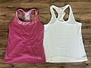 Women's Lot of 2 Under Armour Promover Tank Tops Sz Large Racerback Pink White