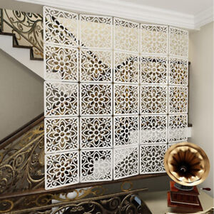 12pcs White Screens Partition Wall Panels Room Divider Hollow Curtains Art Decro