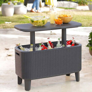 Keter Bevy Bar 56 Litre Rattan Cool Drinks Cooler Box Party Summer Garden Table