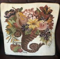 "Woollen Needlepoint Tapestry Cornucopia Petite Point 16x16"""