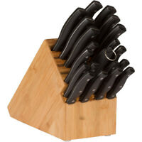 20 Slot Bamboo Knife Block In-Drawer Holder Cutlery Storage Kitchen Organizer