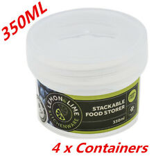 350ML Screw Top Stack-able Plastic Food Storage Container Box Tubs Lid BPA Free