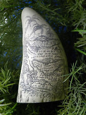"""Scrimshaw Sperm whale tooth resin replica """" Pirate Treasure Map"""" 6"""" long"""