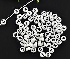 520 A-z Full Sets of Letter White Alphabet Beads 7mm Childrens 20 Sets J08354v