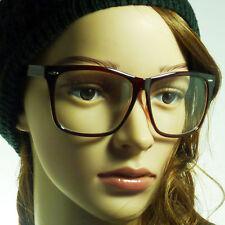 RETRO Large Oversized Nerd Unisex Frame Trendy Clear Lens Eye Glasses BROWN NEW
