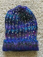Girls Blue Purple Mudd Beanie Hat One Size