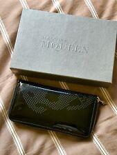 Alexander McQueen Black Patent LeatherZip Wallet.