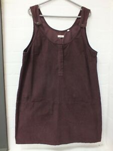 Fat Face Aubergine Purple Cord Dungaree Pinafore Dress Size 18 (Hol)