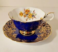 Royal Albert Cobalt  Empress Teacup & Saucer  Bone China England ROSES Vintage