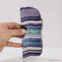 272g Natural Rainbow Fluorite Quartz Slab Polished Crystal Healing Display Decor