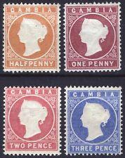Gambia 1880 1/2d-3d Wmk Crown CC Up SG 10B-14B Scott 5-8 LMM/MLH Cat £141($185)