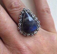 Natural Labradorite Pear Costume Rings