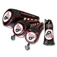 Stars & Stripes USA Flag Black Driver Fairway Wood Hybrid Blade Putter Headcover