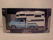 1966 Chevy C-10 Pickup Truck with CAMPER Die-cast 1:24 Motormax 8 inch Blue