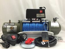 NEW12V 12000LBS Synthetic Rope Electric Winch Wireless Remote ATV 4WD Boat Truck
