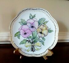 Handpainted Pansies On Reticulated White Porcelain With Gold Accents Portugal