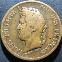 Old Foreign World Coin: 1841-A French Colonies 10 Centimes