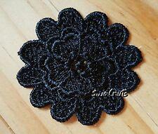 10pcs BLACK Guipure Venise Embroidered Lace FLOWERS Applique Motif Trim Patch