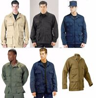 Military Poly/Cotton Twill Solid Long Sleeve BDU Tactical Fatigue Shirt Rothco