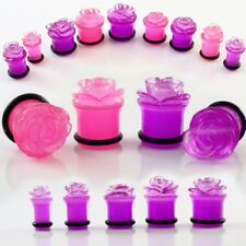 """Pair of Pink Acrylic Carved Rose Flower Plugs Ear Gauges 2G 0G 00G 7/16"""" 1/2"""""""