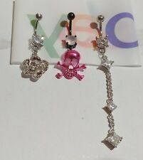 Lot of 3 Belly Button Ring Dangle Navel Set Piercing Body Jewelry Skull Flower