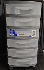 6 Drawer Organizer Cart Black Plastic Craft Storage Container Rolling Bin