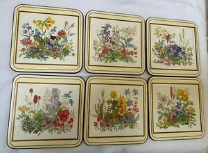 Vintage Acrylic Pimpernel Coasters Meadow Flowers Set Of 6 Cork Back Square EUC