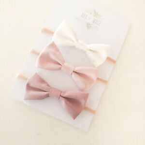 3 x Bow Headband Packs Cream Soft Pink Dusty Baby Girl Newborn Nylon Cotton Hair