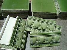 Lot of 77 Green embosed Border guard baseboard Antique Majolica Art Nouveau tile