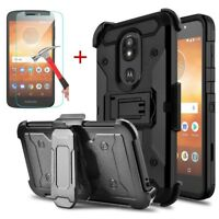 For Motorola Moto G6 Play/Forge Shockproof Armor Stand Hard Clip Case&Holster