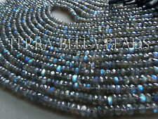"12"" AAA LABRADORITE faceted gem stone rondelle beads 5mm blue green"