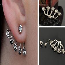 1PC Sweet Rose Flower Women Crystal Heart Ear Stud Pin Wrap Earring Cuff Eardrop