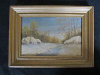 """Belle huile de 1982 signée HENRI """"les chaumières sous la neige """""""