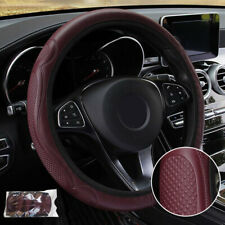 Car Steering Wheel Cover Pouch Anti-Slip Embossed Leather Universal 38cm UK