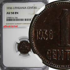 Lithuania Bronze 1936 1 Centas NGC AU58 BN 1 YEAR TYPE KM# 79