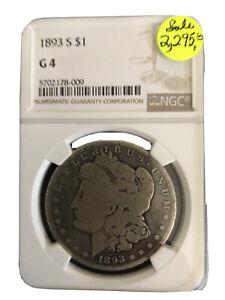 1893 s morgan silver dollar NGC G4 Key Date