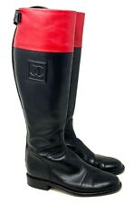 Authentic CHANEL Coco Mark Bi Color Leather Long Boots #37 US7 Black Red Rank AB