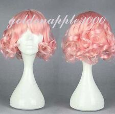 """12"""" 30cm Lolita Short Curly Pink Cosplay Costume Wig Party Wigs"""