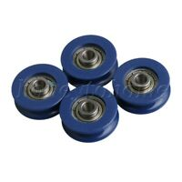 4PCS U-Type Groove Sealed Wire Track Guide Pulley Ball Bearing 59kg/130lbs Blue
