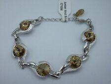 Wm. Wang Bracelet Swarovski Elements Silver Tone Amber Crystal Rhinestone SHINY
