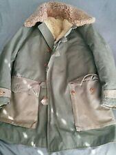Vintage Swedish WW2 M1909 sheepskin parka coat jacket military shearling everest