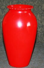 "Rare Anchor Hocking Glass Primary Color Fired on Red HOOVER VASE Scallop Top 9""!"