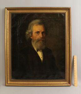 1873 Antique 19thC FREDERICK FREER American Portrait Oil Painting of Gentleman