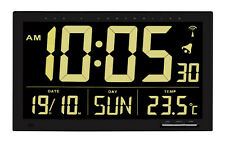 Radio Wall Clock Vesuvius TFA 60.4505 Black Office Waiting Room Temperature