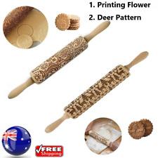 35CM Wooden Rolling Pin Embossing Baking Roller - Printing Flower&Deer Pattern