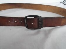 Vtg Levis brn leather men belt 36 engrave brass metal hardware 1144-2 DISTRESS