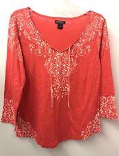 Lucky Brand L Red V Neck 3/4 Sleeve Cotton Knit Top Euc Lkn