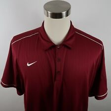 Nike Mens Polyester Dri Fit Ss Burgundy Red Striped Activewear Polo Shirt Xxl
